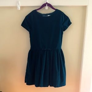 Jacadi Paris Short-Sleeve Teal Corduroy Bow Dress